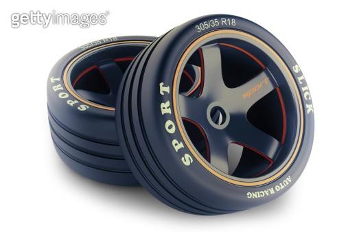 Slick wheels lit for race car