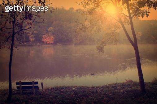 Vintage photo of idyllic autumn scene