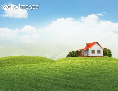 landscape with house and bushes