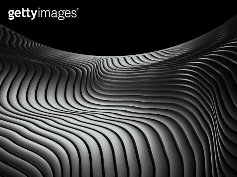 3d wavy aluminium background copy space