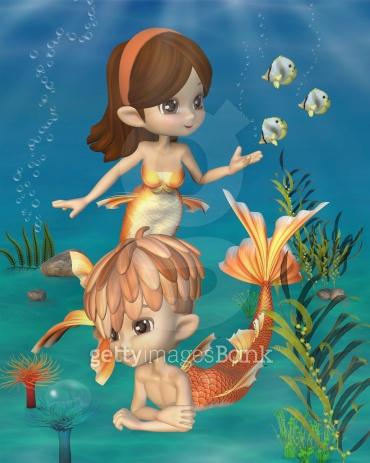 Cute Toon Goldfish Merpeople Scene
