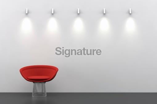 Wall with light and waiting room like setup