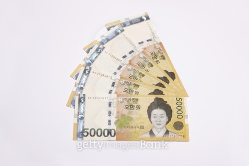 Fanned out Korean currency