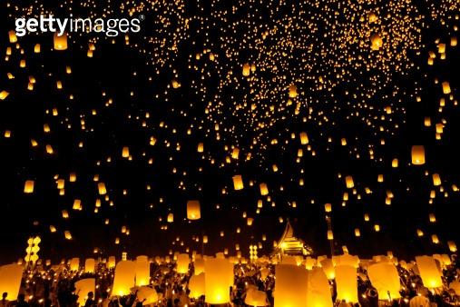 Yee Peng Firework Festival in Chiangmai Thailand