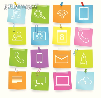 Vector of Social Networking Adhesive Notes