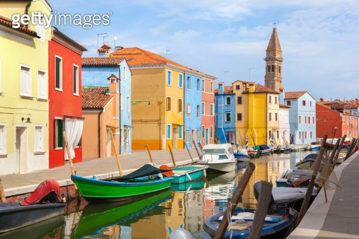 Color houses on Burano island near Venice