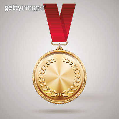 Vector gold medal on red ribbon