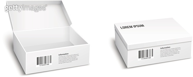 Two white vector packages or boxes