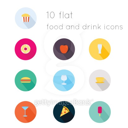 Modern flat icons of food and drink theme