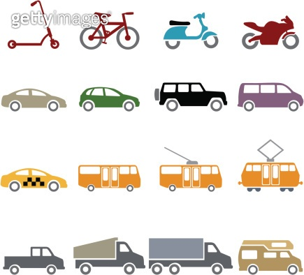 Vector Set of Color Ground Transportation Icons