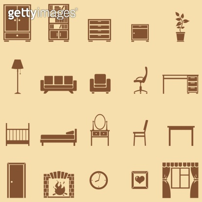 vector set of 20 brown furniture  icons