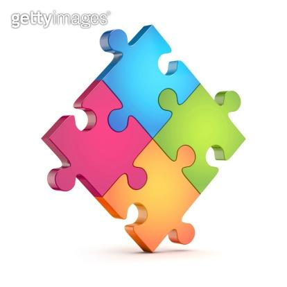 four colorful puzzle (jigsaw) pieces