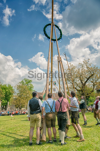 Traditional maypole setting in Burghausen