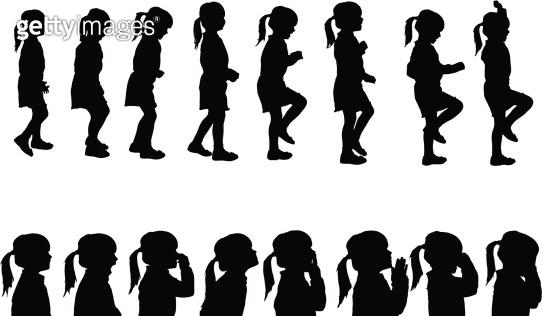 Vector silhouettes girl.