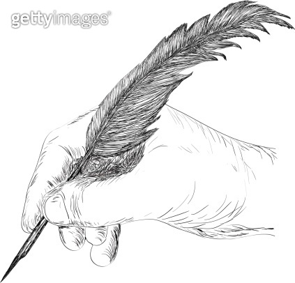 Drawing hand with feather
