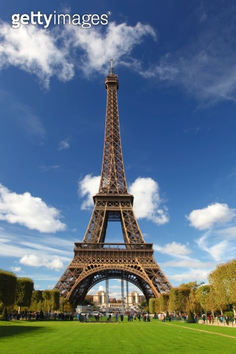 The Eiffel Tower in Paris with city park,  France
