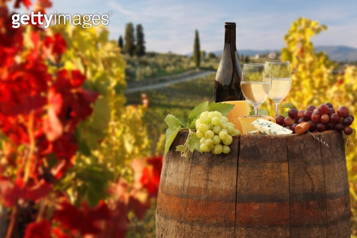 Vine landscape with wine still-life in Chianti, Tuscany, Italy