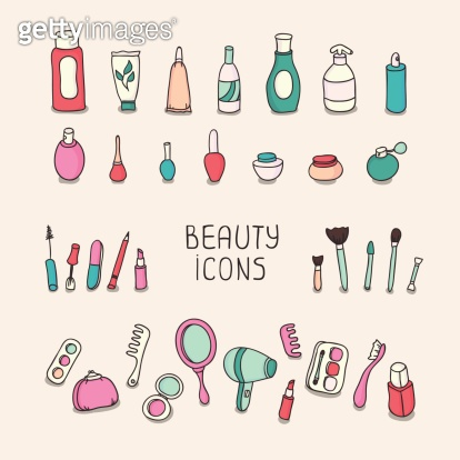 Set of vintage cosmetics elements and beauty products icons. Makeup.