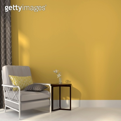 Chairs and a table on yellow background