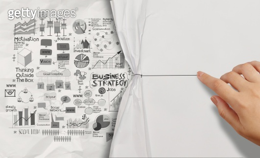 hand drawn business strategy on crumpled paper background