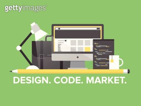 Website programming management flat illustration