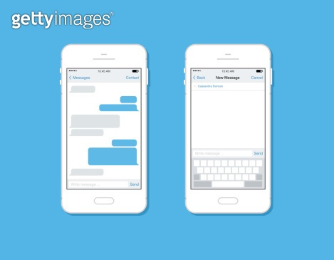 Messaging and chatting on mobile phone vector template