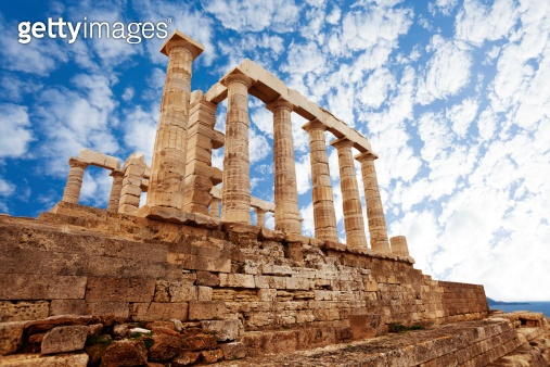 Temple of Poseidon, Athens, on Mediterranean sea