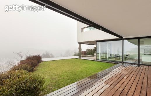 modern villa, view from veranda
