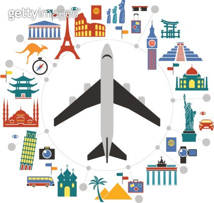 Infographic design template with travel icons and airplane