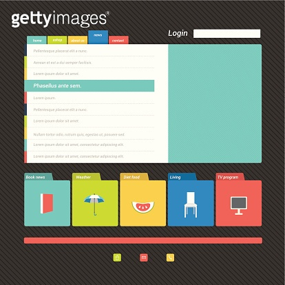 Flat web page, blog, portfolio. Vector background.