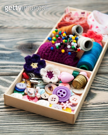 thread and material for handicrafts in box