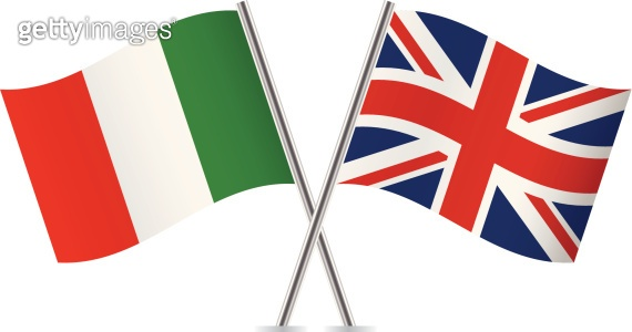 Italian and British flags. Vector.