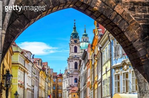 View of old town in Prague taken from Charles bridge