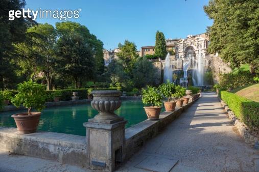fountain and garden in Tivoli  Rome Italy