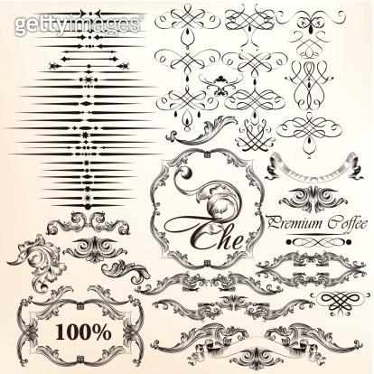 Vector set of vintage decorative calligraphic elements for desig