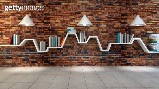 3d render of minimalist shelf over dramatic concrete background