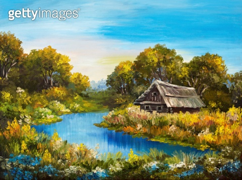 Oil Painting - Farmhouse near the river, river blue