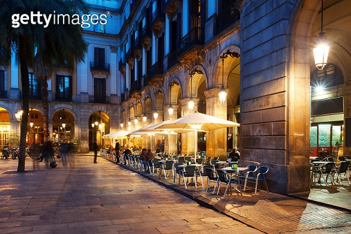 restaurants at Placa Reial. Barcelona