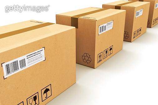 Row of cardboard boxes