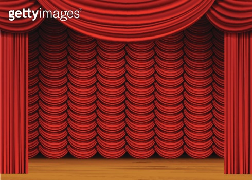 Vector Scene with Red Curtains and Wood Floor