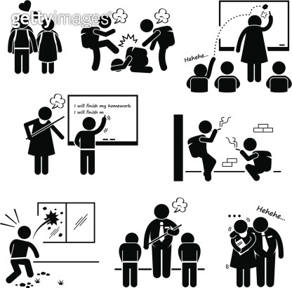 School Education Social Problem Stick Figure Pictogram Icon Clipart