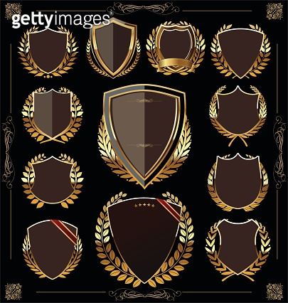 Golden shield and laurel wreath collection