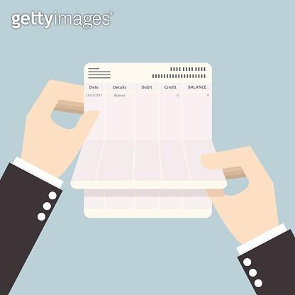 Businessman hands holding passbook with no balance