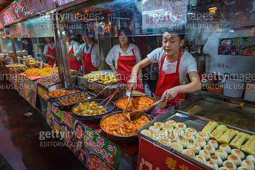 Chinese food street style delicious night market stalls Beijing