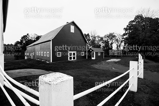 White pipe fence and American traditional barn.