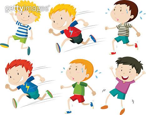 Boys running fast  slow