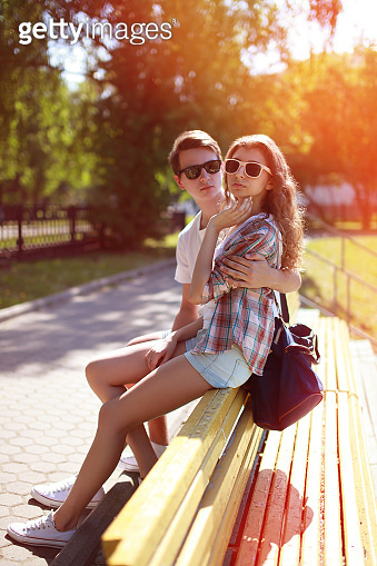 Summer portrait modern urban cool hipster couple in the city