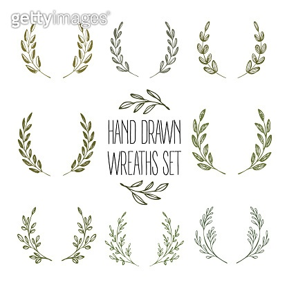 Set of hands drawn decorative wreaths. Vector illustration