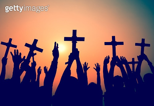 Hands Holding Cross Christianity Religion Faith Concept