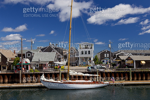 Sailboat in morning, Perkins Cove, Ogunquit, Maine, New England.